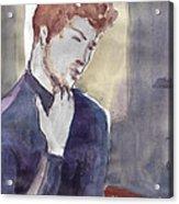 Boy Scratching His Chin Acrylic Print