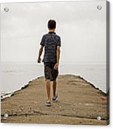 Boy Walking On Concrete Beach Pier Acrylic Print