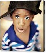 Boy Wearing Over Sized Hat Sideways Acrylic Print by Ron Nickel