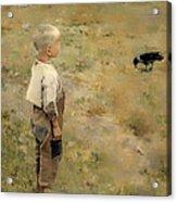 Boy With A Crow Acrylic Print