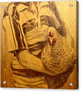 Boy With Chicken Acrylic Print