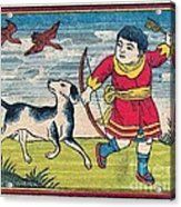 Boy With Dog Ducks Hunting. Bow And Arrow. Landscape. Matches. Match Book Antique Matchbox Cover. Acrylic Print