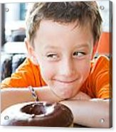 Boy With Donut Acrylic Print