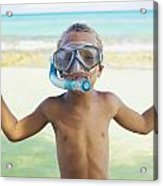 Boy With Snorkel Acrylic Print by Kicka Witte