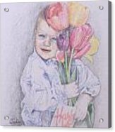 Boy With Tulips Acrylic Print by Kathy Weidner