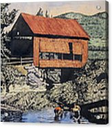 Boys And Covered Bridge Acrylic Print by Joseph Juvenal