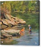 Boys Playing In The Creek Acrylic Print
