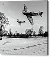 Low-flying Spitfires Black And White Version Acrylic Print