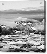 brash sea pack ice forming together with dirty blue iceberg as winter approaches cierva cove Antarct Acrylic Print by Joe Fox