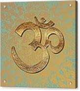 Gold Brass Om Mandala Acrylic Print