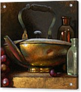 Brass Teapot And Antique Glass Acrylic Print by Timothy Jones