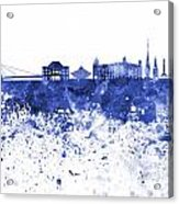 Bratislava Skyline In Blue Watercolor On White Background Acrylic Print