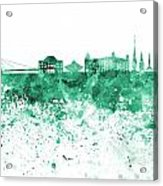 Bratislava Skyline In Gree Watercolor On White Background Acrylic Print