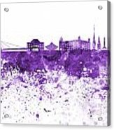 Bratislava Skyline In Purple Watercolor On White Background Acrylic Print