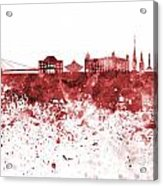 Bratislava Skyline In Red Watercolor On White Background Acrylic Print