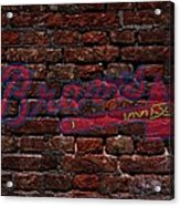 Braves Baseball Graffiti On Brick  Acrylic Print