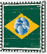 Brazil Flag Like Stamp In Grunge Style Acrylic Print
