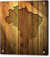 Brazil Map On Lit Wooden Background Acrylic Print