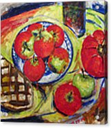 Bread Tomato And Apples Acrylic Print by Vladimir Kezerashvili
