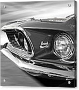 Breaking The Sound Barrier - Mach 1 428 Cobra Jet Mustang In Black And White Acrylic Print