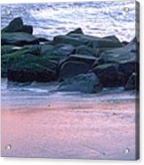 Breakwater Rocks At Sunset Beach Cape May Acrylic Print