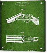 Breech Loading Gun Patent Drawing From 1883 - Green Acrylic Print