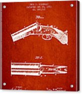Breech Loading Gun Patent Drawing From 1883 - Red Acrylic Print