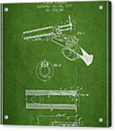 Breech Loading Shotgun Patent Drawing From 1879 - Green Acrylic Print