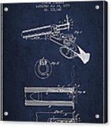 Breech Loading Shotgun Patent Drawing From 1879 - Navy Blue Acrylic Print