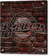 Brewers Baseball Graffiti On Brick  Acrylic Print