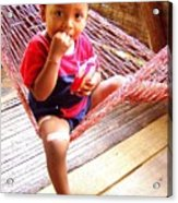 Bribri Indian Child In A Hammock Acrylic Print