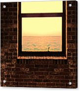Brick Window Sea View Acrylic Print
