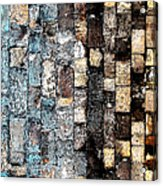 Bricks Of Turquoise And Gold Acrylic Print