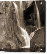 Bridalveil Falls In Yosemite Sepia Version Acrylic Print