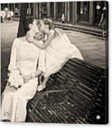 Bride And Daughter Kiss In Jackson Square New Orleans Acrylic Print