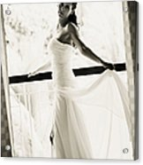 Bride At The Balcony. Black And White Acrylic Print