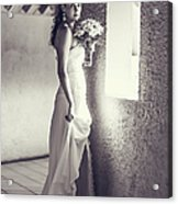 Bride At The Window. Black And White Acrylic Print