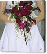 Brides Bouquet And Wedding Dress Acrylic Print