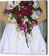 Brides Bouquet And Wedding Dress Acrylic Print