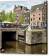 Bridge On Singel Canal In Amsterdam Acrylic Print