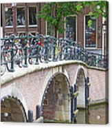 Bridge Over Canal With Bicycles  In Amsterdam Acrylic Print