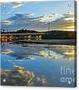 Bridge Over Lake At Sunset Narrabeen Lakes Sydney Acrylic Print