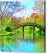Bridge Over Lake In Spring Acrylic Print