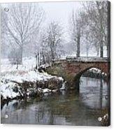 Bridge Over River In A Snowstorm Acrylic Print