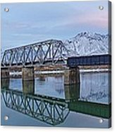 Bridge Over Tranquil Waters In Kamloops British Columbia Acrylic Print