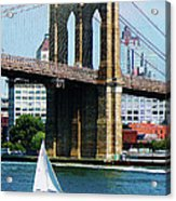 Bridge - Sailboat By The Brooklyn Bridge Acrylic Print