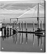 Bridge To Mount Pleasant - Black And White Acrylic Print