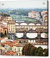 Bridges Of Florence Acrylic Print by Susan Schmitz