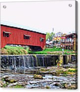 Bridgeton Mill And Covered Bridge Acrylic Print
