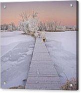 Bridging The Cold Acrylic Print by Michael Van Beber